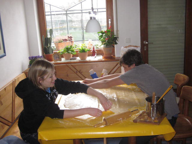 Host son and Brooke making german tradation- apple strudel